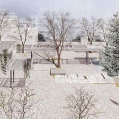 A proposal for the redesign of two public Squares in the city of Trikala, Greece. The proposal was awarded the prize in the architectural competition organized by the city. Urban Landscape, Landscape Design, Landscape Architecture, Architecture Design, Parasitic Architecture, Community Housing, Public Square, Urban Park, Square Art