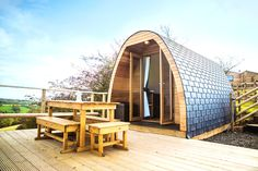 Two glamping, eco-pods on the edge of the Peak District, with lush farmland views and plenty of home comforts…