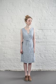 Hey, I found this really awesome Etsy listing at https://www.etsy.com/listing/233187180/linen-wrap-dress-in-bluish-grey