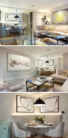 Dining Room Design Idea - Use Built-In Banquette Seating To Save Space | This built-in banquette tucked away in the corner, features LED lighting at the back creating an up-lighting effect that brightens the corner and creates a dramatic atmosphere.