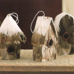 Feather Bird House Ornaments - Ornaments - Christmas - Seasonal House Ornaments, Christmas Ornaments, Backyard Creations, Bird Feathers, Bird Houses, Home Furnishings, Christmas Ideas, Scrap, Birds