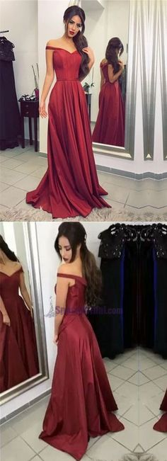 Red Off Shoulder Simple Elegant Zipper Back High Quality Prom Dresses, 2018 Prom dress, PD0678
