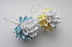Tree decoration  Christmas toys  Kanzashi by LacyLoveHandmade