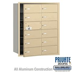 Salsbury Industries Commercial Horizontal Mailbox 12 B Door 11 Usable Front Loading USPS Access Security Mailbox, Safety And Security, Commercial Mailboxes, Mail Center, Gold Fronts, Aluminium Doors, Address Plaque, Home Safety, Filing Cabinet
