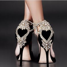 Beautiful black high heels with heart detail