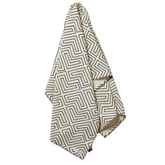 Hand printed bath sheet made from absorbent and textural waffle weave cotton in a graphic, linear pattern. Textile Prints, Textiles, New Panel, Greenhouse Interiors, Monochrome Color, Linear Pattern, Bath Sheets, Boutique Design, Tile Design