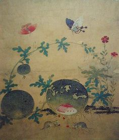 """Watermelon"" by Shin Sa-im-dang (1512-1559), a renowned female painter of the Chosun Dynasty. Shin Sa-im-dang is one of the most famous artists in Korean history and is known for her depictions of plants and animals."