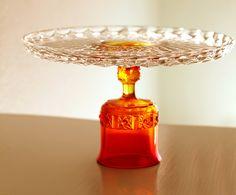 Orange Cake Stand for Thanksgiving / Glass Cake Stand / Vintage Cake Plate / Cake Pedestal Stand / Cake Dish Platter / Fall Autumn Weddings. $75.00, via Etsy.