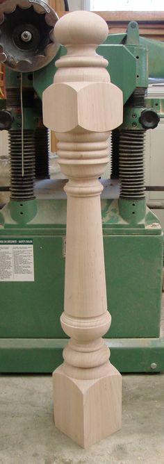 Custom newel post made in oak.