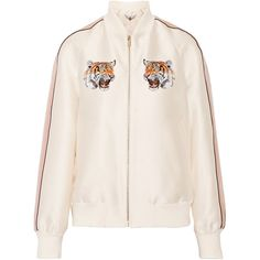 Stella McCartney Lorinda embroidered duchesse-satin bomber jacket (3 160 AUD) ❤ liked on Polyvore featuring outerwear, jackets, ivory, zipper jacket, pastel jacket, pink zip jacket, bomber style jacket and zip bomber jacket