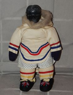 "Vintage Inuit Eskimo Art DOLL w SOAPSTONE HEAD Traditional Clothing:  fur, cloth about 8"" x5"""