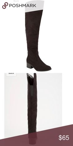 """Over the knee boots City Classified over the knee boots. Features a microsuede upper with zipper at inside ankle for easy on/off. Elastic goring at cuff. Stacked synthetic heel. Synthetic outsole. Approx shaft height: 18.5"""". Approx heel height: 1.75"""". Imported. Worn once like new still have box Shoes Over the Knee Boots"""