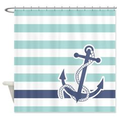 Nautical Anchor Stripe Light Blue Shower Curtain by PinkInkArt - CafePress