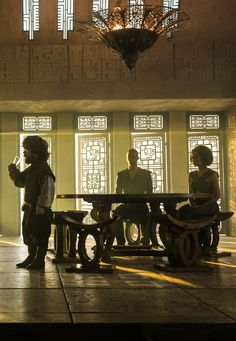 """6.03 """"Oathbreaker"""" – Tyrion, Missandei, and Grey Worm, hangin' out while Daenerys is gone. They haven't seen her since she climbed onto Drogon's back and flew away."""