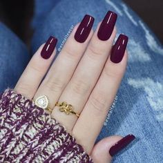Top 50 Gel Nails 2019 To Try Them Gel Nails It is not a secret to anyone that gel manicure has been trending for a minute currently. it's true that there area unit several advantages that such a mani comes with however the Red Acrylic Nails, Gold Nails, How To Do Nails, Fun Nails, Burgundy Nails, Dark Red Nails, Purple Nails, Elegant Nails, Super Nails