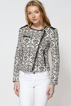 Aztec Print Asymmetric Zip Fastening Short Jacket