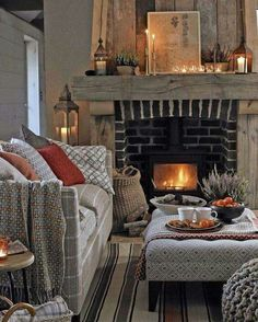 Living Room Ideas Cozy How To Make.Cozy Living Room Designs With Fireplaces Defined By Sunken . Cozy Living Room Designs With Fireplaces Defined By Sunken . Home and Family Cottage Living Rooms, Cottage Interiors, Home Living Room, Living Room Designs, Cozy Living Room Warm, Apartment Living, Cozy Apartment, Autumn Decor Living Room, Danish Living Room