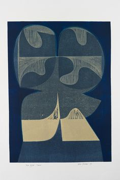 Blue Night Tower - woodcut and stencil print by Peter Green OBE RE