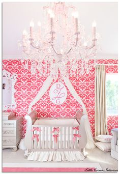 Pink Monogram Nursery ~ so beautiful, specially love the pink damask walls and the chandelier