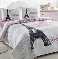 Istanbul Home Collection Paris Eiffel Tower Themed Ranforce 100 Turkish Cotton Full Queen Size Quilt Duvet Cover Set Bedding Linens, 4 Pcs Paris Room Decor, Paris Rooms, Paris Bedroom, Paris Theme, Bedroom Themes, Bedroom Decor, Bedroom Ideas, Wall Decor, Thema Paris
