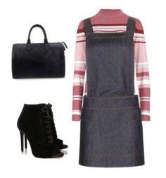 pichi denim + jersey de rayas rosas y blancas cuello tortuga + botines peep-toe + bolso bowling