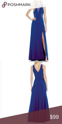 Blue gown From Morgan & Co., this gown features: ITY power mesh illusion plunging v-neckline sleeveless v-back triple illusion banded sides front side slit floor length back zipper closure polyester/spandex hand wash, worn one time perfect condition Morgan & Co. Dresses Prom