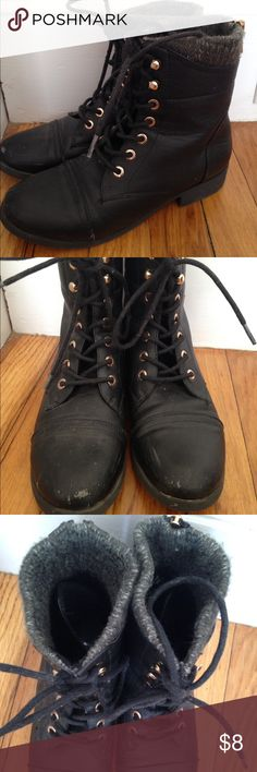 Black combat boots Worn but still cute. Dress these up or down. Feel free to make an offer on these or any of my items! Charlotte Russe Shoes Combat & Moto Boots