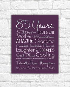 Birthday Gift For Grandma Choose ANY Year 85th Gifts 80 Years Old Mother Grandmother Great Born 1930s WF604
