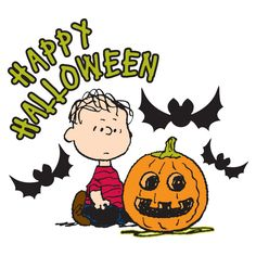 Linus says happy Halloween while seated near a pumpkin and bats