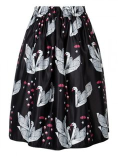 Black Crane Print High Waist Skater Midi Skirt | Choies
