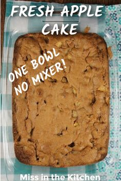 The easiest, one bowl, apple cake recipe! No mixer required. It's a family favorite that is so simple to make. A great dessert for any day of the week and delicious enough for holidays and celebrations. Easy Apple Cake, Apple Recipes Easy, Fresh Apple Cake, Fresh Cake, Apple Dessert Recipes, Delicious Cake Recipes, Easy Cake Recipes, Yummy Cakes, Sweet Recipes