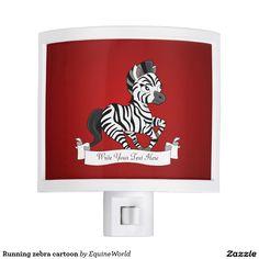 Running zebra cartoon night lites