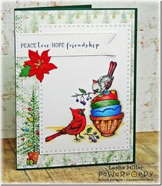 Cozy Cupfuls stamp set by Power Poppy, card design by Leslie Miller.
