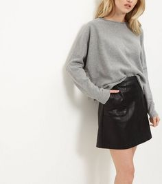Grey Batwing Cropped Sweater  | New Look