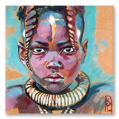 "Image of Paper Art Print - ""Enfant Himba 1"""