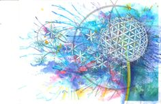 """Titled """"The Flower of Life"""" Watercolor PRINT Signed by Artist"""