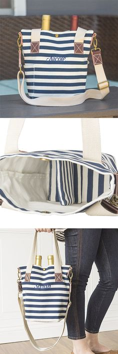 Tote you wine in style and bring the bubbly to your next party in this fashionable, personalized striped canvas wine tote bag.  The ultimate housewarming gift idea.  Just fill with a couple bottles of wine and voila. This double wine bottle carrier features a durable canvas construction in a chic navy striped pattern, button closure, and genuine leather accents.  https://www.tippytoad.com/personalized-striped-canvas-wine-tote-bag.asp