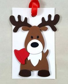Your place to buy and sell all things handmade Reindeer gift tags / Reindeer Christmas tags / Reindeer favor tags / christmas tags / reindeer party Diy Christmas Tags, Christmas Party Favors, Christmas Wood, Christmas Crafts For Kids, Handmade Christmas, Holiday Crafts, Reindeer Christmas, Christmas Tables, Nordic Christmas
