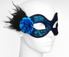 Metallic Blue And Black Lace Masquerade Mask    by SOFFITTA