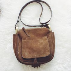 Zara Suede Fringe Crossbody  Light wear on back showing black lines as seen in third photo. Lightly used. Perfectly clean inside and out. Zara Bags Crossbody Bags
