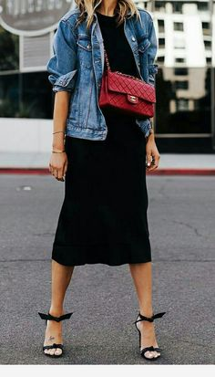 Fashion Jackson Wearing Denim Jacket Black Tshirt Black Silk Skirt Red Chanel Handbag Alexandre Birman Clarita Black Sandals Source by mbelvel outfits chic Fashion Mode, Denim Fashion, Look Fashion, Fashion Outfits, Spring Fashion, Jackets Fashion, Queer Fashion, Chanel Fashion, Classic Fashion