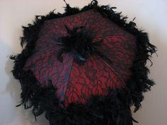 victorian parasols   VICTORIAN PARASOL in Deep Red Iridescent Tucked Taffeta, ...   Paraso ...