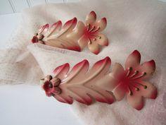 Vintage Pink Floral Metal Curtain Tie Backs  Cottage by jenscloset, $24.50
