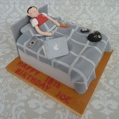 Boy in bed cake