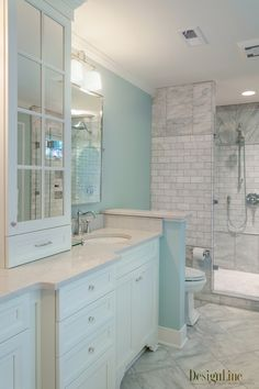 Bathroom ~ love the softness of this color!