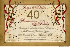 Festive 40th Anniversary Party Invitation - Red & golden colors combine with streamer & confetti graphics to celebrate lasting love! Personalize everything about this design - colors, text, graphics & even the fonts - to make it your very own.