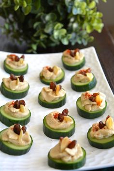 Cucumber Hummus Canapé -My Signature Dish :) | Yes! I am Vegan :) Canapes Recipes, Vegan Appetizers, Vegan Snacks, Appetizers For Party, Appetizer Recipes, Healthy Snacks, Canapes Ideas, Toothpick Appetizers, Vegetable Appetizers