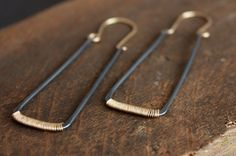 recycled sterling silver rectangle hoops with by lemonadehandmade, $75.00