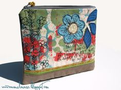 Zipper pouch with Appliqué Free motion stitching by Raumalainen, $83.00