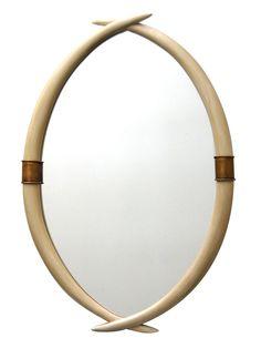 Safari Twin Faux Ivory Tusk Mirror by APF Munn